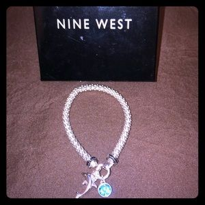 NEW Nine West Dolphin & Aquamarine Bracelet